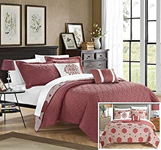 Chic Home 4 Piece Zoe Hexagon Embroidered Reversible Printed Backside Quilt Set, Twin, Brick