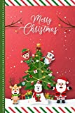 Merry Christmas: Paper Craft Origami Santa Elf Reindeer and Tree Design / 6x9 Lined Journal To Write In and Cartoon Christmas Card Combo / Holiday Creative Writing Gift for Kids Teens and Adults