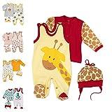 Baby Sweets  3er Baby-Set mit Strampler, Shirt & Mütze für Jungen & Mädchen, 74, Gelb Braun Rot - Baby Giraffe