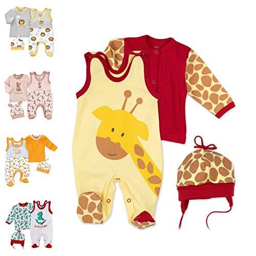 Baby Sweets 3er Baby-Set mit Strampler, Shirt & Mütze für Jungen & Mädchen Erstausstattung Strampler-Set im Giraffen-Motiv, 62, Gelb Braun Rot - Baby Giraffe