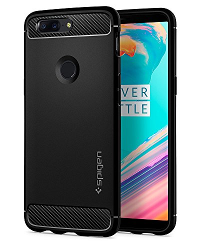 OnePlus 5T Case, Spigen Rugged Armor - Resilient Shock Absorption and Carbon Fiber Design for OnePlus 5T (2017) - Black