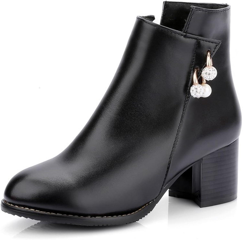 AdeeSu Ladies Glass Diamond Solid Kitten-Heels Imitated Leather Boots