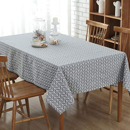 YISHU Abwaschbar Tischdecke Eckig Lotuseffekt Wasserdicht Segeltuch Tischtuch Fleckschutz Pflegeleicht Schmutzabweisend Tischwäsche grau 140 * 200cm