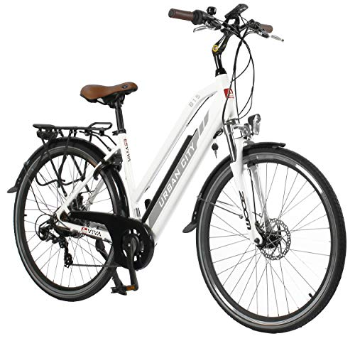 "AsVIVA E-Bike 28\"" Trekkingrad, CityBike Tiefeinsteiger (14,5Ah Samsung Akku), 7 Gang Shimano Schaltung, starker 250W Heckmotor, weiß grau"