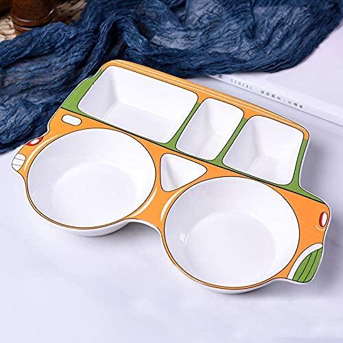 DAQ Plato Divisor de cerámica Pintado a Mano Lindo vajilla de Comida complementaria para niños con Forma de Coche Naranja, vajilla