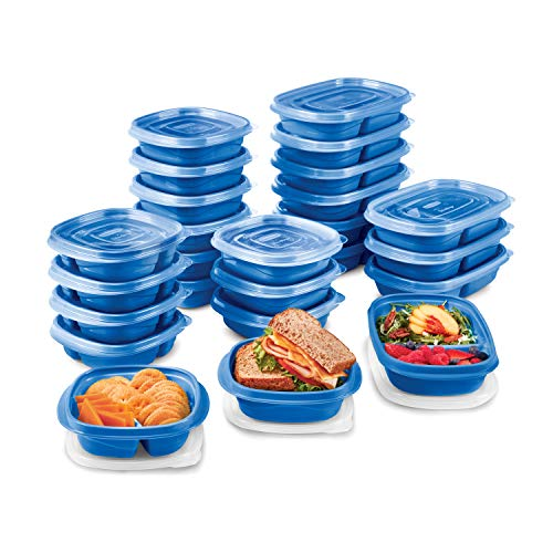 Rubbermaid TakeAlongs On The Go Food Storage and Meal Prep Containers Set of 25 50 Pieces Total Marine Blue