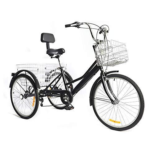 Generic 24 Zoll Dreirad für Erwachsene, 7 Geschwindigkeit 3 Rad Erwachsenen Dreirad Fahrrad Pedal Dreirad Trike Fahrrad mit Rückenlehne und 2 Körben Schwarz