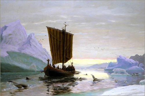 Cuadro sobre lienzo 30 x 20 cm: Erik the Red discovered Greenland de Jens Erik Carl Rasmussen / ARTOTHEK - cuadro terminado, cuadro sobre bastidor, lámina terminada sobre lienzo auténtico, impresió...