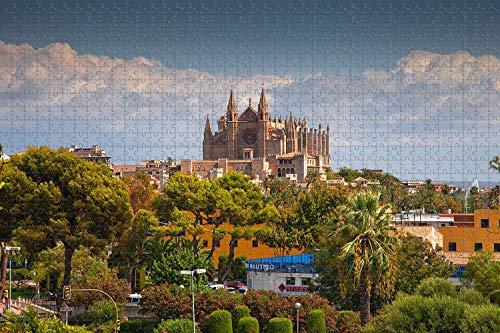 500 piezas-España Palma Mallorca Catedral Rompecabezas para adultos Regalo de viaje de madera Recuerdo