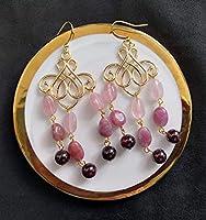 Indian Initiation Serie de Civilizaciones Antiguas de 2020 Pendiente de turmalina rosa hecha a mano y cuarzo rosa y...