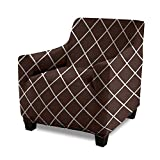 Gorilla Grip Original Fitted Velvet 1 Piece Chair Protector for Seat Width to 23 Inch, Stretchy Furniture Slipcover, Fastener Straps, Spandex Chair Cover for Pets, Armchair, Diamond Chocolate White