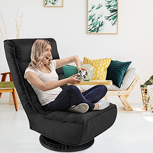 Kealive Floor Gaming Chair,4-Position Adjustable Gaming Floor Chair, 360 Degree Swivel Floor Chair, 330lb Spring Support, Comfortable Folding Floor Chair for Adults, Teens, Kids, Black