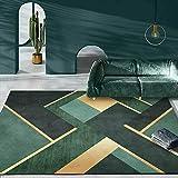Qutdoor-QJ Moderno Alfombra De Salón Antideslizante Alfombra Costuras geométricas de Oro Verde Oscuro para El Dormitorio Decoración del Hogar 120X160CM