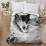 Wolf Throw Blanket Reversible Wolf Family Printed Flannel Blanket for Kids Boys Teens Audlts Soft Microfiber Solid Blanket for Couch Bed Camping and Travel 50'x60'