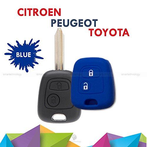1neiSmartech Cover Guscio Colorato Materiale Silicone Morbido Per Scocca Chiave 2 Tasti Auto Toyota Aygo In 10 Fantastici Colori (Blu)