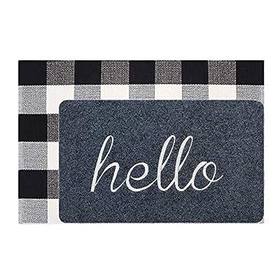 Welcome Doormat, Hello Mat Outdoor Rug + Buffalo Plaid Layered Rug, Non Slip Entryway Indoor Outdoors Mats, Hello, Grey