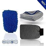 STERNSCHEIN Premium Auto Putz Set inkl. Microfasertuch, Waschhandschuh & Car Wash Mitt - innovatives Car Wash Kit für eine klare Fahrt - Poliertuch (3)
