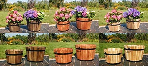 Deko-Shop-Hannusch 2 Blumenkübel im Set XL & XXL, Pflanzkübel aus Holz,beschlagen mit Griffen aus Metall, Garten, Farbe:hell