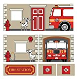 DHP Fire Department Design Curtain Set for Junior Loft Bed, Kids Furniture, Blue