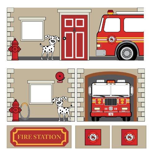 DHP 4314429SET Hochbett mit Rutsche Feuerwehr Curtain Set blau