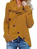 Yidarton Pullover Damen Warm Asymmetrische Strickpullover Rollkragenpullover Solid Wrap Gestrickt Langarmshirts Oberteile Causal (B-Gelb, L)