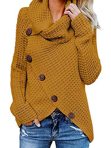 Yidarton Pullover Damen Warm Asymmetrische Strickpullover Rollkragenpullover Solid Wrap Gestrickt Langarmshirts Oberteile Causal (B-Gelb, XL)