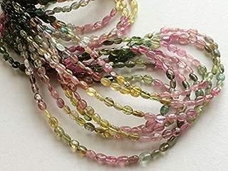 "14"" strand natural multi tourmaline 3x4 mm - 4x5 mm oavl smooth beads - sale - multi tourmaline oval beads, aaa multi tourmaline gemstone, multi tourmaline necklace, 3x4mm to 4x5mm, wholesale price"