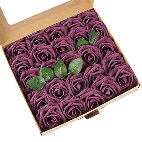 ASYOUWISH Flores Artificiales, 25 Piezas, Rosas de Imitación de Espuma de Poliestireno con Tallos, Adecuadas para Decoración del Hogar, Ramo de Boda, o Decoración de Jardín al Aire Libre, etc.
