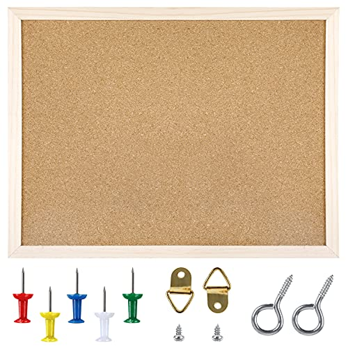 Cork Board Bulletin Board - 15.7 X 12 Inches Vision Board Wood Frame Corkboard Message Board Wall Mounted Pin Board for School, Home & Office (with Pins, Eye Bolts, Gaskets, Screws)
