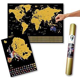 Global Walkabout A2 - Póster de mapa del mundo para rascar y bonificar (A3, mapa de Europa con banderas), tamaño grande, regalo de viaje