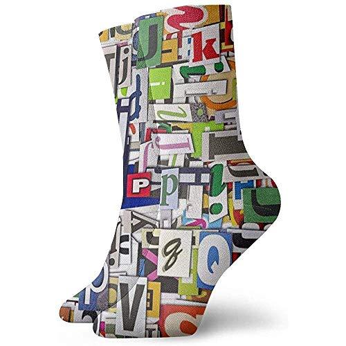 LLeaf Novedad, divertido, loco, calcetín de tripulación, letra inglesa, colorido, impreso, deportivo,...
