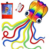 HONBO R2F Huge Rainbow Soft Octopus Kite for Kids and Audlts- Large Kite with Long Tail and 200ft Flying line---Easy to Fly Toy for Outdoor Games Beach and Activities