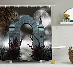 Ambesonne Gothic Decor Collection, Scary Medieval Middle Age Stone Gate with Fog Full Moon and Ivy Dark Night Theme Artwork, Polyester Fabric Bathroom Shower Curtain, 75 Inches Long, Grey Red