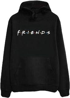 CRYYU Womens Friends Print Pockets Hoodies Pullover Long Sleeve Tops Fleece Sweatshirt