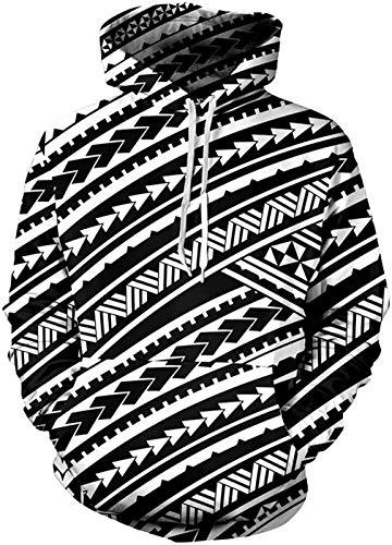 SEANATIVE Unisex 3D Schwarz und Weiß Polynesian Tattoo Print Fleece Hoodies Pullover Langarm Kapuzenpullover Sweatshirts 5XL