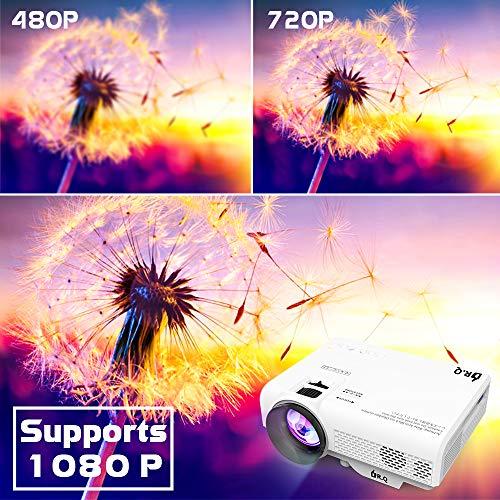 DR.Q Projector, Mini Projector 6000 Lumens, Video Projector Supports 1080P HD, Portable Projector Supports HDMI VGA AV…
