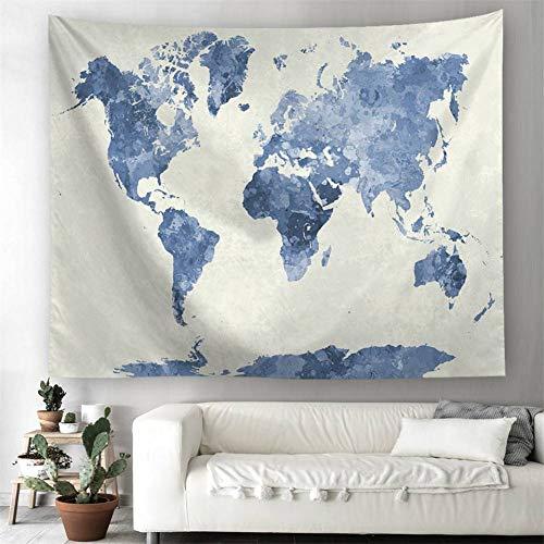ZWBBO Tapijt, wereldkaart, wandtapijt, polyester, dunne Boheemse bedrukking, deken, strandlaken, sjaal, slaapzaal, decoratie (130 x 150 cm)