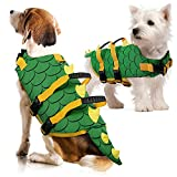 IDOMIK Dog Life Jacket Ripstop Green Pets Life Vest Preserver, High Flotation Lifesaver Coat with Rescue Handle D-Ring for Small Medium Large Dog, Adjustable Dog Swimsuit for Beach,Pool,Water Safety