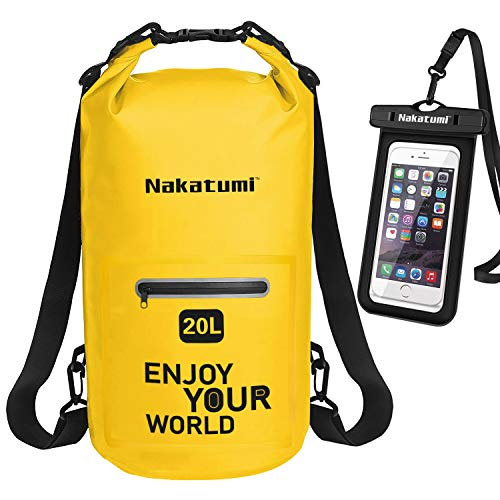 Discovery Adventures Dry Bag,Waterproof Bag Backpack Dry Sack 10L 20L with Long Adjustable Shoulder Strap and IPX8 Waterproof Phone Case for Kayaking,Swimming,Camping,Canoeing,Boating,Fishing,Rafting