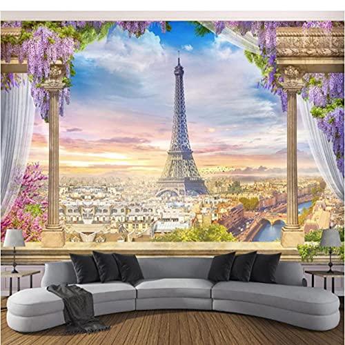 Guyuell Sfondi In Stile Europeo 3D Fiori Albero Murales Natura Paesaggio Foto Torre Eiffel Pareti Carta Per Soggiorno Decorazioni Per La Casa-400X280Cm