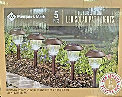Member's Mark 5-Piece Oil-Rubbed Bronze Led Solar Path Lights