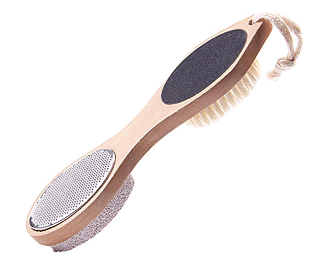 偏心満足させる秀でるMaltose フットファイル 脚裏ブラシ 豚毛 軽石 四つ用途フットブラシ フットメジ 角質.魚の目やすり 足用 足の裏ブラシ かかと削り