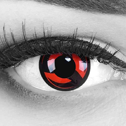 Meralens 1 Paar Farbige Anime Manga Kontaktlinsen Ohne Stärke mit Kontaktlinsenbehälter - Sharingan Eternal Kakashi Naruto in rot schwarz perfekt zu Hereos of Cosplay Halloween rote 12 Monatslinsen