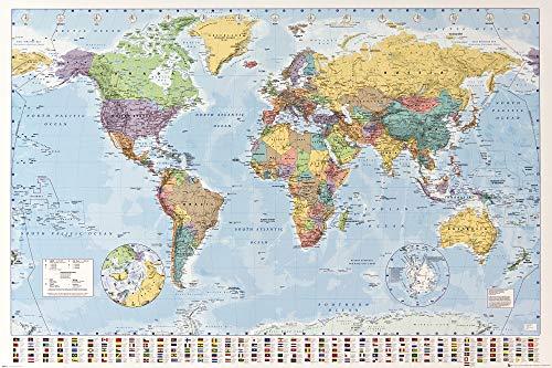 1art1 Carte - Mappa del Mondo Politico con Bandiere Poster Stampa (91 x 61cm)