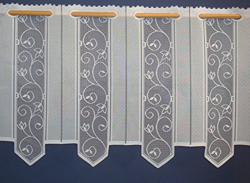 heimtexland Scheibengardine Bistro hochwertiger Jaquard mit Ranke in rein weiß - HxB 45x144 cm - Lamellen Gardine mit Stangendurchzug Typ267