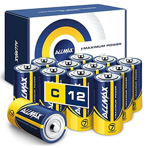 Allmax C Maximum Power Alkaline Batteries (12 Count) – Ultra Long-Lasting C...