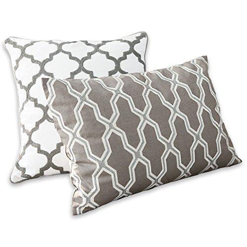 Loberon Kissen 2er Set Soraya, Baumwolle/Polyester, H/B ca. 50/50 cm, grau/weiß