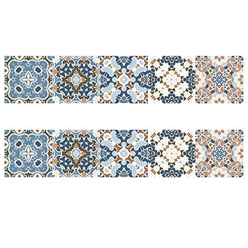 Azulejos pegatinas, Pegatinas de azulejos de estilo floral de simulación, Cocina de la escalera Decoración de baño de papel tapiz, pegatinas de pared a prueba de agua, Renovación para el hogar DIY Peg