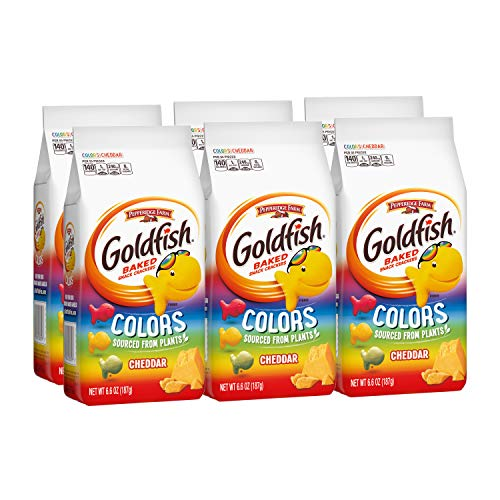 Pepperidge Farm Goldfish Colors Cheddar Crackers, 6.6 oz. Bag, Pack of 6