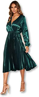 AX Paris Women's Wrap Pleated Satin Dress
